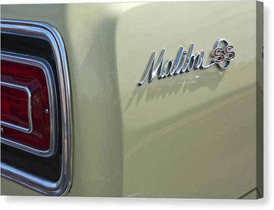 Chevelle Canvas Print - 1965 Chevrolet Chevelle Malibu Ss Emblem And Taillight by Jill Reger