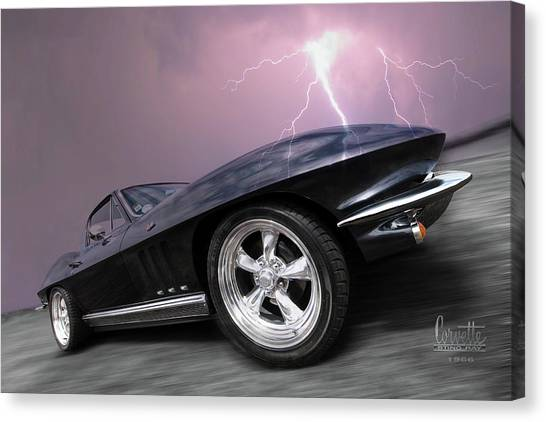 1966 Corvette Stingray With Lightning Canvas Print