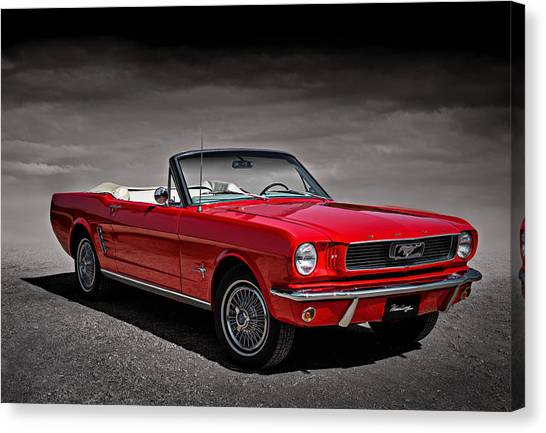 Ponies Canvas Print - 1966 Ford Mustang Convertible by Douglas Pittman