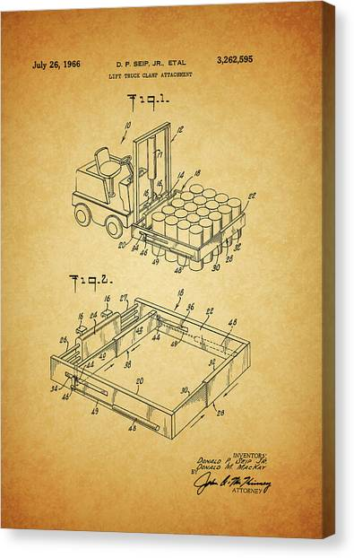 Forklifts Canvas Print - 1966 Forklift Clamp Patent by Dan Sproul
