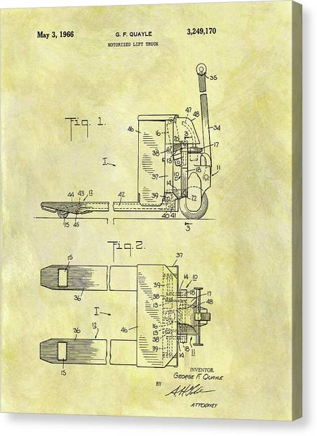Forklifts Canvas Print - 1966 Lift Truck Patent by Dan Sproul