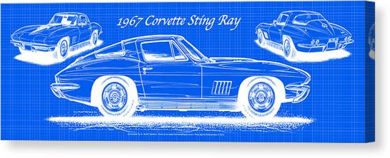 1967 Corvette Sting Ray Coupe Reversed Blueprint Canvas Print