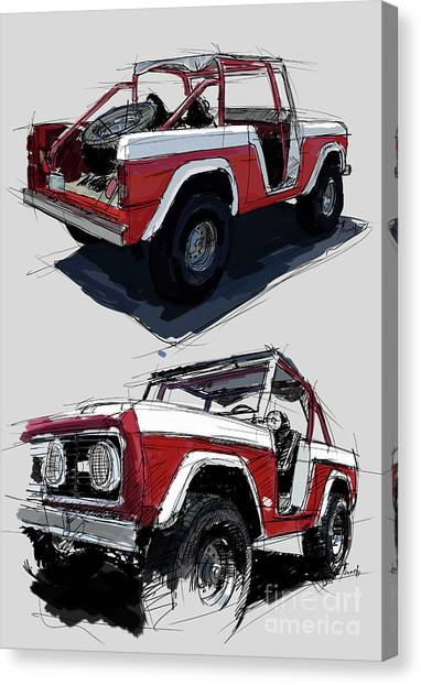 4x4 Canvas Print - 1967 Ford Bronco Off-road by Drawspots Illustrations