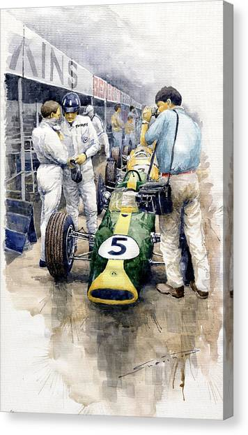 Graham Canvas Print - 1967 Lotus 49t Ford Coswoorth Jim Clark Graham Hill by Yuriy Shevchuk