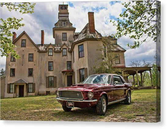 1967 Mustang At The Mansion Canvas Print