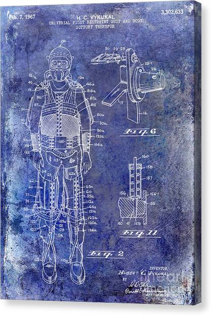Space Suit Canvas Print - 1967 Pilot G Suit Patent Blue by Jon Neidert