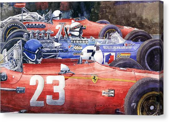 Papers Canvas Print - 1968 Belgie Gp Spa Ickx Amon Ferrari 312 Stewart Matra Cosworth M15 by Yuriy Shevchuk