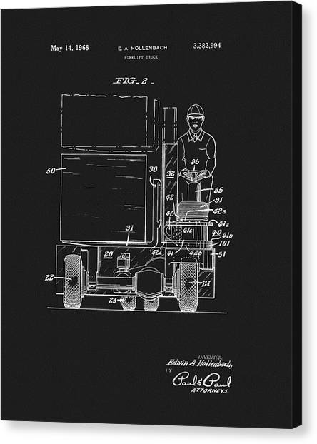 Forklifts Canvas Print - 1968 Forklift Patent by Dan Sproul