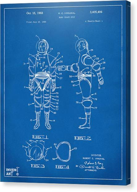 Space Suit Canvas Print - 1968 Hard Space Suit Patent Artwork - Blueprint by Nikki Marie Smith