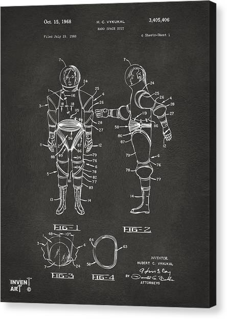 Space Suit Canvas Print - 1968 Hard Space Suit Patent Artwork - Gray by Nikki Marie Smith