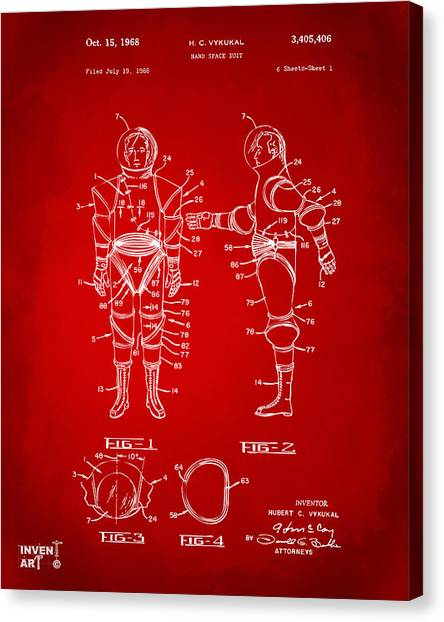 Space Suit Canvas Print - 1968 Hard Space Suit Patent Artwork - Red by Nikki Marie Smith