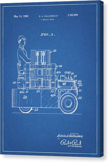 Forklifts Canvas Print - 1968 Lift Truck Patent by Dan Sproul