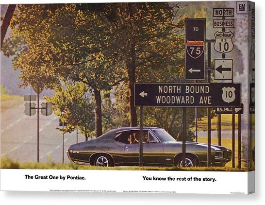 Detroit Tigers Canvas Print - 1968 Pontiac Gto - Woodward - The Great One By Pontiac by Digital Repro Depot