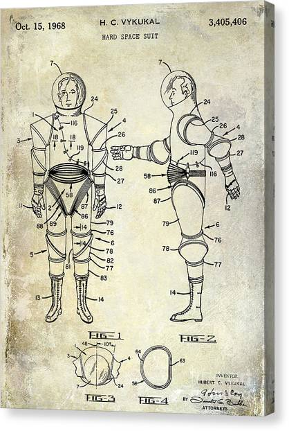 Space Suit Canvas Print - 1968 Space Suit Patent by Jon Neidert