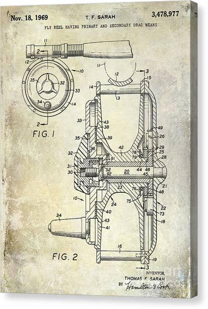 Fishing Poles Canvas Print - 1969 Fly Reel Patent by Jon Neidert
