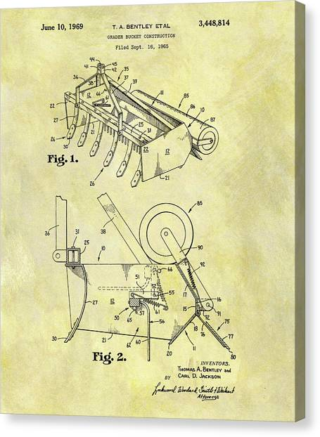 Workers Canvas Print - 1969 Grader Bucket Patent by Dan Sproul