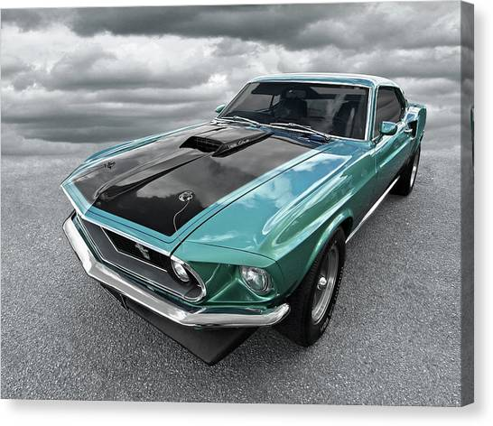 1969 Green 428 Mach 1 Cobra Jet Ford Mustang Canvas Print