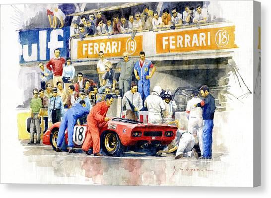 Automotive Art Canvas Print - 1969 Le Mans 24 Ferrari 312p Pedro Rodriguez  David Piper by Yuriy Shevchuk