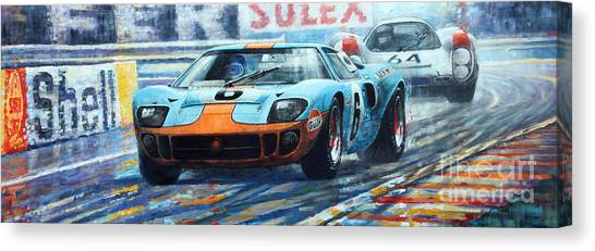 Ford Canvas Print - 1969 Le Mans 24 Ford Gt 40 Ickx Oliver Winner  by Yuriy Shevchuk
