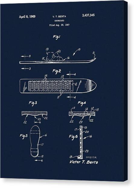 Alpine Canvas Print - 1969 Snowboard Patent Navy Blue by Dan Sproul