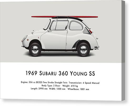 Profile Canvas Print - 1969 Subaru 360 Young Ss - Creme by Ed Jackson