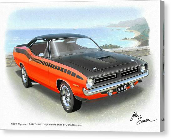 Roadrunner Canvas Print - 1970 Barracuda Aar  Cuda Classic Muscle Car by John Samsen