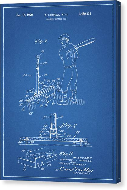 Lou Gehrig Canvas Print - 1970 Baseball Practice Patent by Dan Sproul