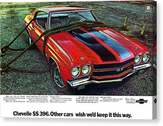 Chevelle Canvas Print - 1970 Chevrolet Chevelle Ss 396 by Digital Repro Depot