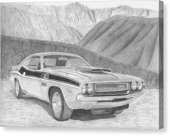 1970 dodge challenger ta classic car art print drawing by stephen rooks. Black Bedroom Furniture Sets. Home Design Ideas