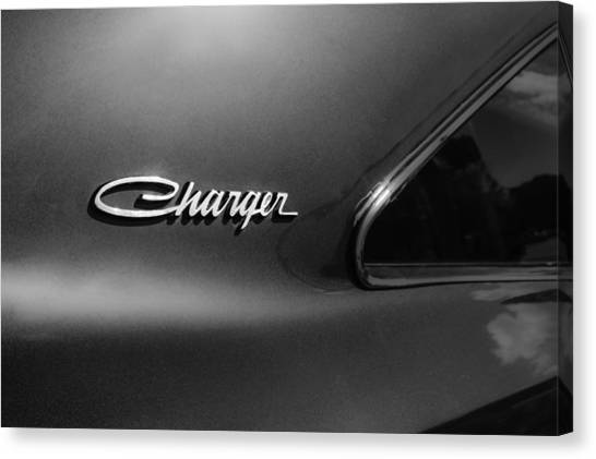 Dodge - Plymouth - Chrysler Automobiles Canvas Print - 1970 Dodge Charger Emblem -0290bw by Jill Reger