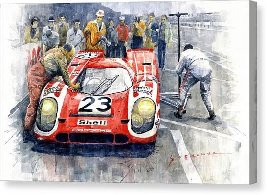 Automotive Art Canvas Print - 1970 Le Mans 24 Porsche917k Attwood Herrmann Winner  by Yuriy Shevchuk