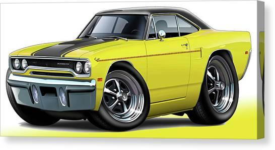 Roadrunner Canvas Print - 1970 Roadrunner Yellow Car by Maddmax