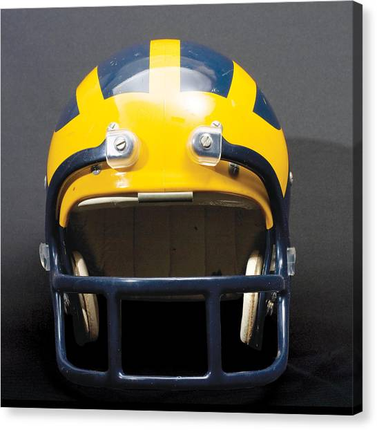 Canvas Print featuring the photograph 1970s Wolverine Helmet by Michigan Helmet