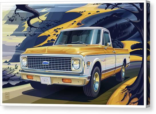 Centennial Canvas Print - 1971 Chevrolet C10 Cheyenne Fleetside 2wd Pickup by Garth Glazier