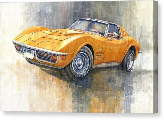 Automotive Art Canvas Print - 1971 Chevrolet Corvette Lt1 Coupe by Yuriy Shevchuk