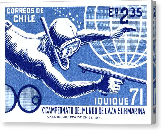 Spearfishing Canvas Print - 1971 Chile Spearfishing Championship Postage Stamp by Retro Graphics