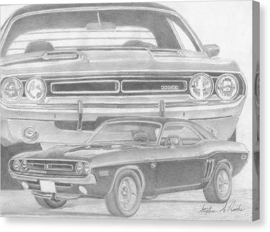 1971 dodge challenger rt classic car art print drawing by stephen rooks. Black Bedroom Furniture Sets. Home Design Ideas