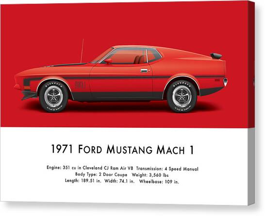 Profile Canvas Print - 1971 Ford Mustang 351 Mach 1 - Bright Red by Ed Jackson