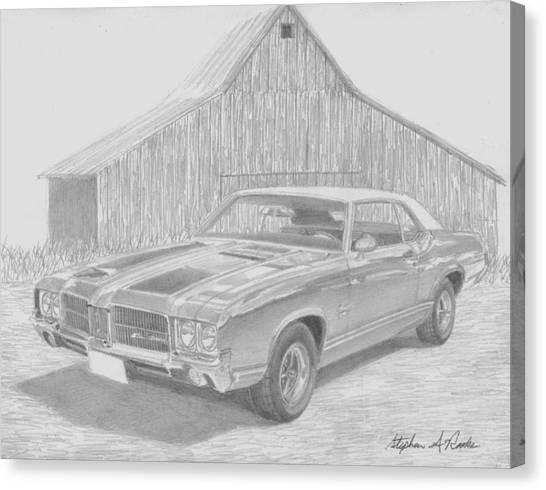 1971 Oldsmobile Cutlass Supreme Muscle Car Art Print Canvas Print by Stephen Rooks