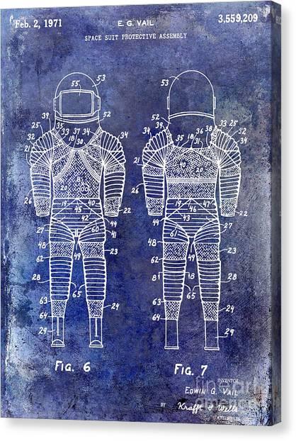 Space Suit Canvas Print - 1971 Space Suit Patent Blue by Jon Neidert