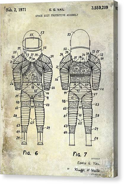 Space Suit Canvas Print - 1971 Space Suit Patent  by Jon Neidert