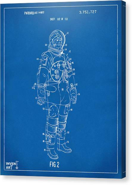Space Suit Canvas Print - 1973 Astronaut Space Suit Patent Artwork - Blueprint by Nikki Marie Smith