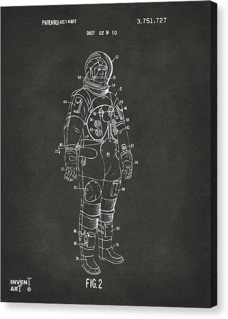 Space Suit Canvas Print - 1973 Astronaut Space Suit Patent Artwork - Gray by Nikki Marie Smith