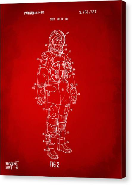 Space Suit Canvas Print - 1973 Astronaut Space Suit Patent Artwork - Red by Nikki Marie Smith