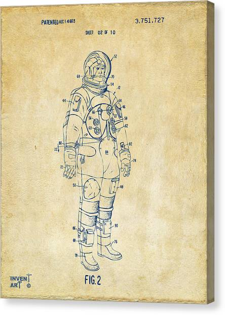 Space Suit Canvas Print - 1973 Astronaut Space Suit Patent Artwork - Vintage by Nikki Marie Smith