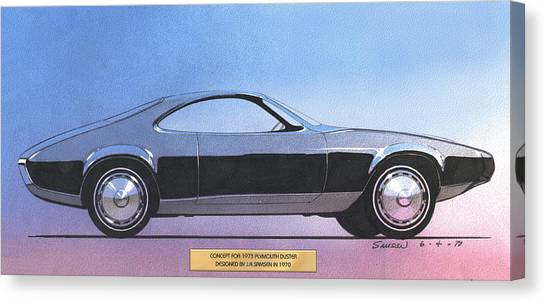 1973 Duster  Plymouth  Vintage Styling Design Concept Sketch Canvas Print by John Samsen