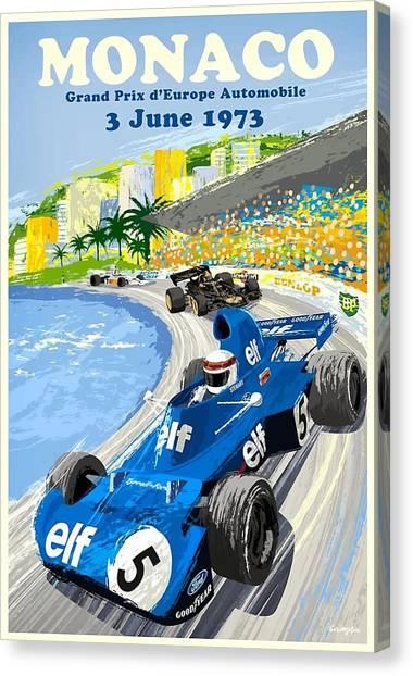 Ham Canvas Print - 1973 European Grand Prix Monaco Race Poster by Retro Graphics