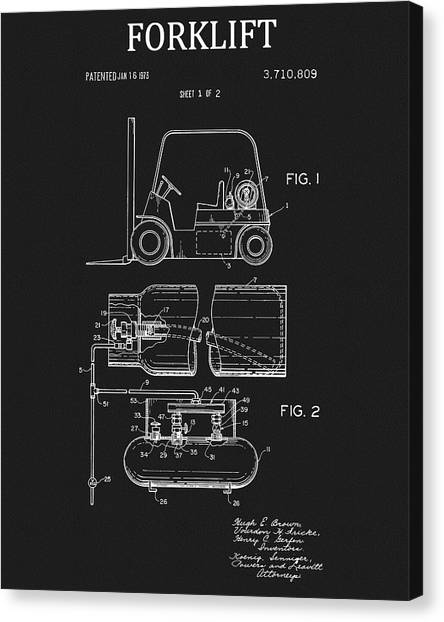Forklifts Canvas Print - 1973 Forklift Patent by Dan Sproul
