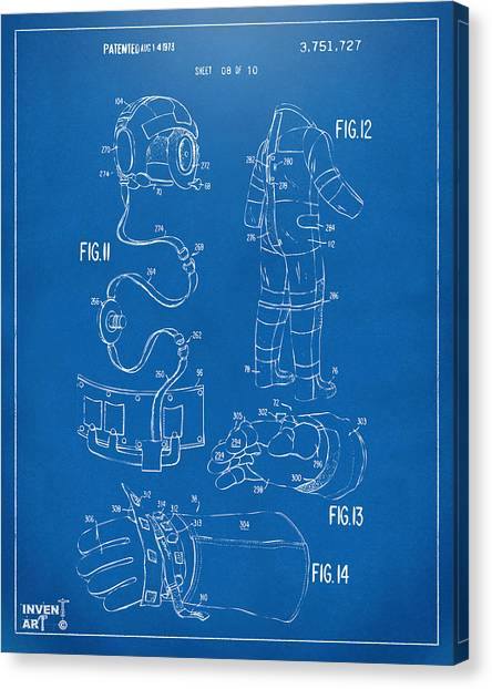 Space Suit Canvas Print - 1973 Space Suit Elements Patent Artwork - Blueprint by Nikki Marie Smith