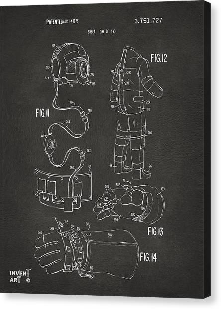 Space Suit Canvas Print - 1973 Space Suit Elements Patent Artwork - Gray by Nikki Marie Smith